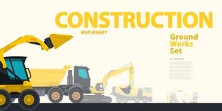 Den gula typografiuppsättningen av jordningsarbeten bearbetar med maskin medel Arkivbilder