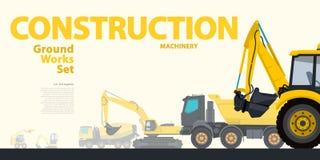 Den gula typografiuppsättningen av jordningsarbeten bearbetar med maskin medel Grävskopa - konstruktionsutrustning Royaltyfri Fotografi