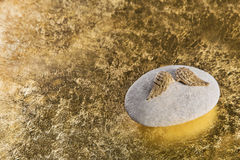 Den guld- ängeln påskyndar för en död eller en ledsen bakgrund eller för en condol Royaltyfri Bild