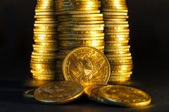 Den guld- amerikanen myntar. Arkivbilder