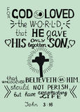 Den guld- bibelvers John 3 16 för gud älskade så världen Fotografering för Bildbyråer