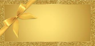 Den guld- biljetten, presentkortet, presentkort med gnistrandet blänker rambakgrund och det guld- pilbågebandet royaltyfri illustrationer