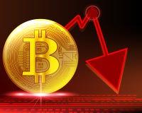 Den guld- bitcoinkraschgrafen i cirkuleringar gör panikslagen den indica röda zonen för försäljning royaltyfri illustrationer