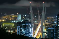 Den guld- bron i Vladivostok på natten royaltyfri fotografi