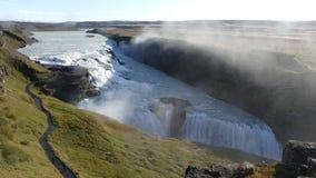 Den guld- cirkel- och Gullfoss vattenfallet royaltyfri fotografi