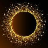 Den guld- cirkelvågen mousserar guld- abstrakt bakgrund som är guld- blänker på en bakgrund för mörk brunt, vip-designmall Vektor Royaltyfri Foto