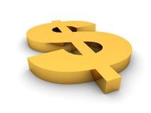 den guld- dollaren framför tecknet Arkivbilder