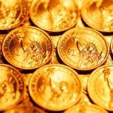 Den guld- dollaren myntar bakgrund Royaltyfri Foto