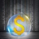 Den guld- dollaren undertecknar in bubblan Royaltyfri Fotografi