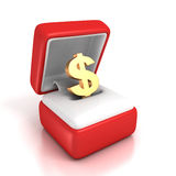 Den guld- dollaren undertecknar in den röda gåvaasken Royaltyfri Bild