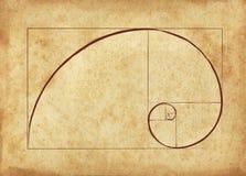 Den guld- Fibonacci spiralen vektor illustrationer