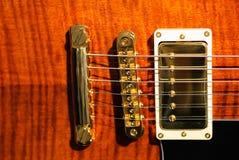den guld- gitarren väljer upp Royaltyfri Bild