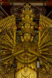 Den guld- Guanyin guld- statyn har en hand med 1000 händer arkivbilder