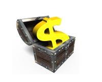 Den guld- guld- dollaren undertecknar in skattbröstkorgen, tolkningen 3D Arkivbilder