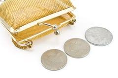Den guld- handväskan med den gamla europén myntar valuta Arkivbilder