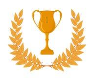 Den guld- koppen och lager krönar, vinnare- och segerillustrationen, triumf- krans Vektor Illustrationer
