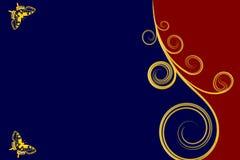 Den guld- krullningen och två fjärilar tränga någon itu med blå och röd bakgrund Royaltyfri Fotografi
