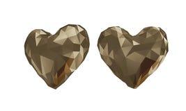 Den guld- låga poly hjärtan med vit bakgrund Fotografering för Bildbyråer