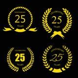 Den guld- lagerkransen 25 år ställde in - jubileum vektor illustrationer
