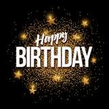 Den guld- lyckliga födelsedagen blänker bakgrundsbanret Arkivfoton