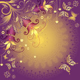 Den guld- och violetta valentinen inramar Arkivbilder