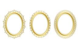 Den guld- ovalen inramar - uppsättningen stock illustrationer