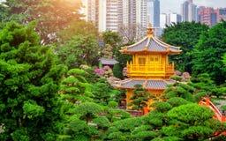 Den guld- paviljongen av absolut perfektion i Nan Lian Garden i chien Lin Nunnery Arkivbilder