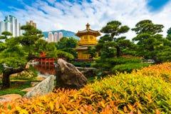 Den guld- paviljongen av absolut perfektion inom Nan Lian Garden Fotografering för Bildbyråer