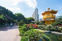 Den guld- paviljongen och den röda bron på den Nan Lian trädgården, Hong Kong Royaltyfri Bild