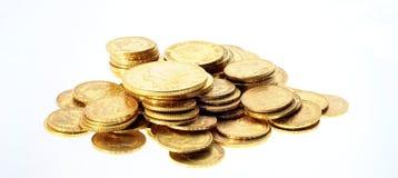 Den guld- raddan myntar för besparing Arkivbild