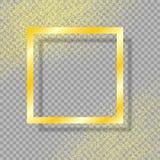 Den guld- ramen med skugga, på isolerad genomskinlig bakgrund, med guldstoftguld blänker också vektor för coreldrawillustration stock illustrationer