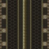 Den guld- randiga grekiska nyckel- slingringar 3d gränsar den sömlösa modellen Dekorativ bakgrund för rastergaller Lace texturera vektor illustrationer