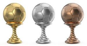 Den guld-, silver- och bronstrofén kuper FOTBOLLFOTBOLL 3D Royaltyfri Bild