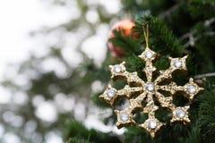 den guld- skinande julprydnaden som hänger från ett grönt, sörjer trädet Royaltyfri Foto