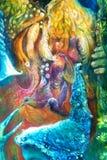 Den guld- solguden, gudinnan för blått vatten, det felika barnet och en phoenix fågel, fantasifantasi specificerade färgrik målni Royaltyfri Bild
