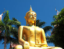 Den guld- statyn av Buddha badade i morgonljus Royaltyfri Fotografi