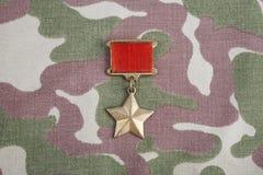 """Den guld- stjärnamedaljen är en special gradbeteckning som identifierar mottagare av titeln \ """"hjälten \"""" i Sovjetunionenet på so royaltyfria foton"""
