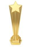 Den guld- stjärnaprisen på sockel med tomt pläterar Royaltyfria Bilder