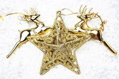 Den guld- stjärna- och guldrenen på snö för garneringjul Royaltyfria Foton