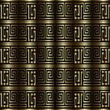 Den guld- tangenten för grek 3d slingrar den sömlösa modellen för vektorn Texturerade dra Royaltyfri Illustrationer