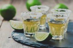 Den guld- tequilaen med limefrukt och saltar arkivbild