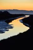 Den guld- vattenvägen Arkivbild