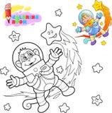 Den gulliga apaastronautet flyger bland stjärnafärgläggningboken stock illustrationer