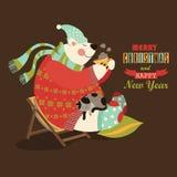 Den gulliga björnen firar jul Arkivbild