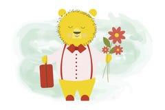 Den gulliga björnen gick tillbaka från en tur med en bagageresväska och blommor - vektortecknad filmillustrationen, teckendesign stock illustrationer