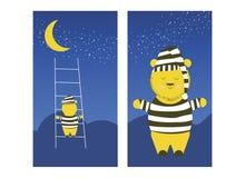 Den gulliga björnen klättrar månen Den sömniga björnen förbereder sig att klättra månen för att sova royaltyfri illustrationer
