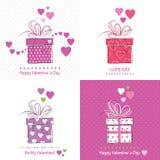 Den gulliga dagen för valentin` s cards samlingen Fotografering för Bildbyråer
