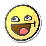 Den gulliga emojien som ler framsidan med den öppna munnen och ler ögon, emoticon isolerade bakgrund, vektorillustration Royaltyfri Bild