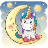 Den gulliga enhörningen i en pilot- hatt sitter på månen stock illustrationer