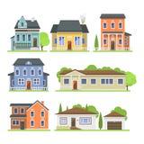 Den gulliga färgrika plana stugan och hemmet för fastighet för symbol för stilhusby planlägger bostads- färgrik byggnad Royaltyfri Foto